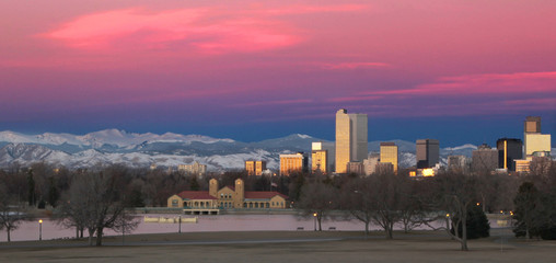 Denver Colorado and Rocky Mountain Skyline at Sunrise