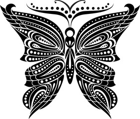 Silhouette butterfly with open wings tracery