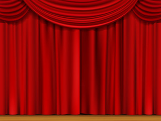 Vector Scene with Red Curtains