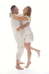 Very Happy Couple Isolated on White