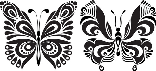 Delicate butterfly silhouette. Drawing symmetrical image