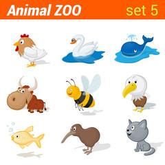 Funny children animals set. Kid language learning elements.