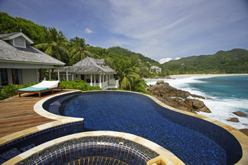 Swimming pool, belonging to a Hotel Room of the Banyan Tree Hotel, Anse Intendance, Mahe', Seychelles