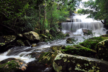 Big Waterfall in wild forest of Thailand