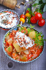 Zucchini, stewed with tomatoes and rice