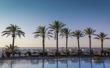 Sunrise at a beach resort in tropics