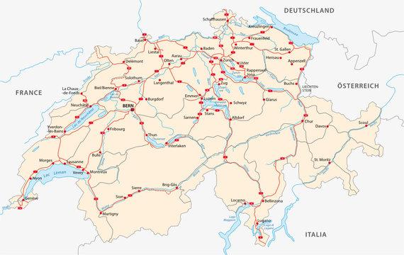Autobahn und Straßenkarte der Schweiz