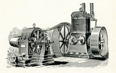 Steam engine and dynamo ca. 1880