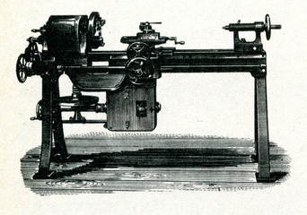 Electrically driven metalworking  lathe ca. 1900