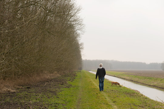 Walking the dog in nature