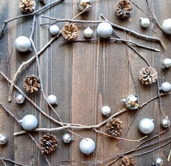 Silver Christmas ornament balls with pine cones