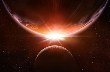 planetary eclipse in the space