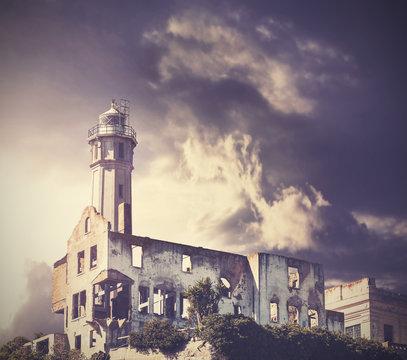 Vintage picture of dramatic rainy sky over Alcatraz Island, san francisco, usa.