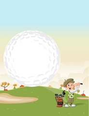 Cartoon golfer boy shooting a golf ball on green course