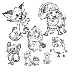 funny cartoon cat, sheep, mouse and hedgehog