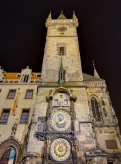 The Astronomical clock at night, Prague, Czech Republic