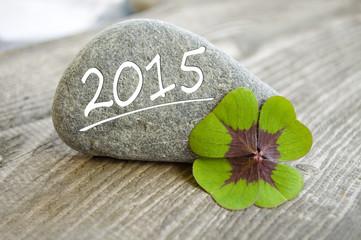 Stein mit Klee und 2015
