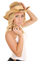 cowgirl white tank serious hands by head
