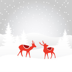 Retro christmas card invitation with reindeer, vector background