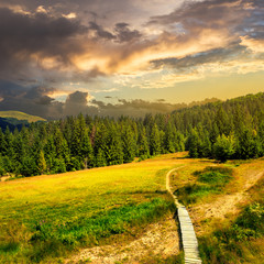 path to mountains at sunset