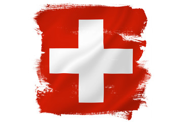 Swiss cross red flag