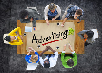 Multiethnic Group with Advertising Concept