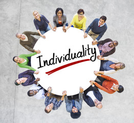 Aerial View of People and Individuality Concepts