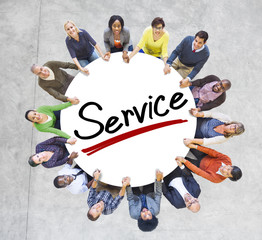 Aerial View of People and Service Concepts