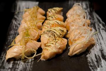 Salmon grilled sushi