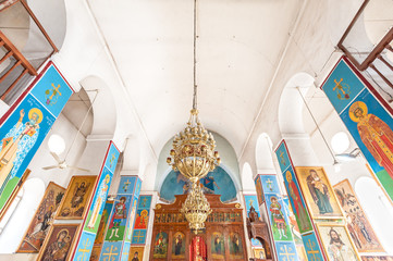 Interior of St. George's Church in Madaba, Jordan