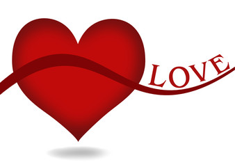 Red Heart Shapes Background and LOVE wording