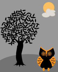 Owl with dark tree and full moon