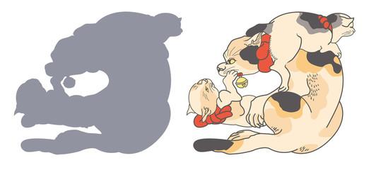 歌川国芳 絵鏡台合かゞ身(猫/はんにやあめん)のイラスト