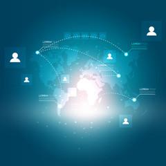 World Map and Social Media Icons | Futuristic EPS10 Design