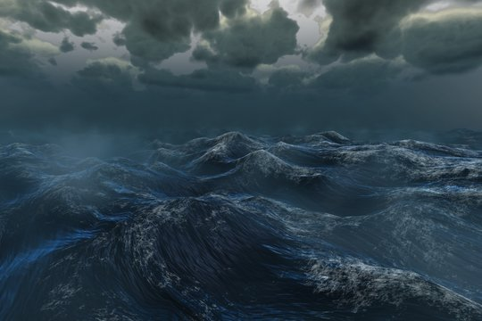 Rough stormy ocean under dark sky