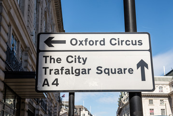 Sign Oxford Circus and Trafalgar Square