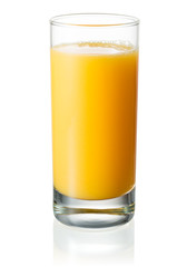 Full glass of orange juice on white background. With clipping pa
