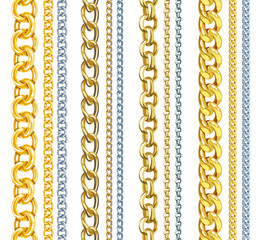 Set of realistic vector gold and silver chains