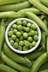 Fresh peas in a bowl