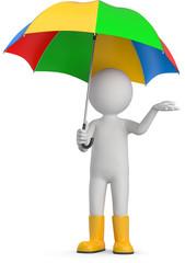 Männchen mit bunten regenschirm