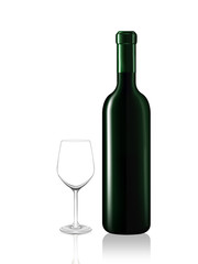 Wine bottle and emtry glass on white