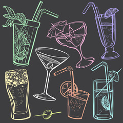 Hand-drawing Icons of Alcoholic Drinks Glasses