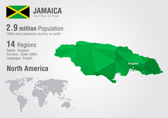 Jamaica world map with a pixel diamond texture.