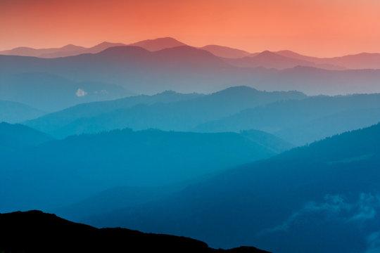 evening scene in Carpathians