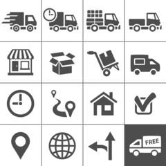 Transportation icons set. Simplus series