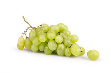 ripe white grapes with dew