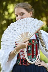 Medieval woman with fan