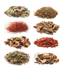 Pile of spices on white background.