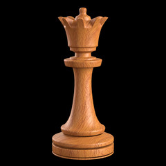 Queen chess. Clipping path included.