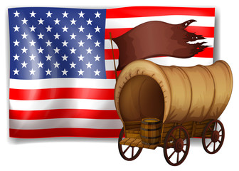 The USA flag at the back of a wagon